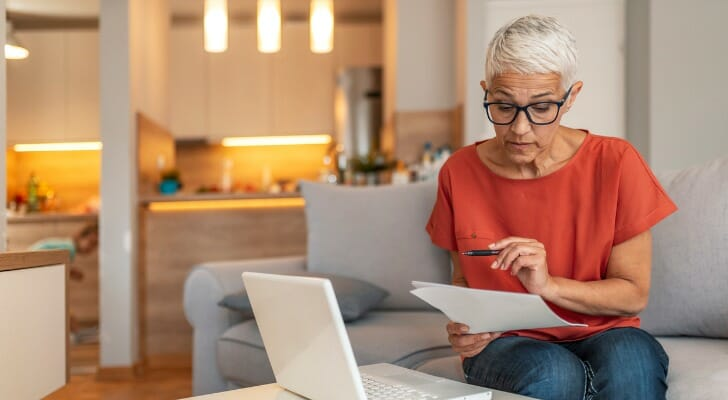 Woman works on her tax returns